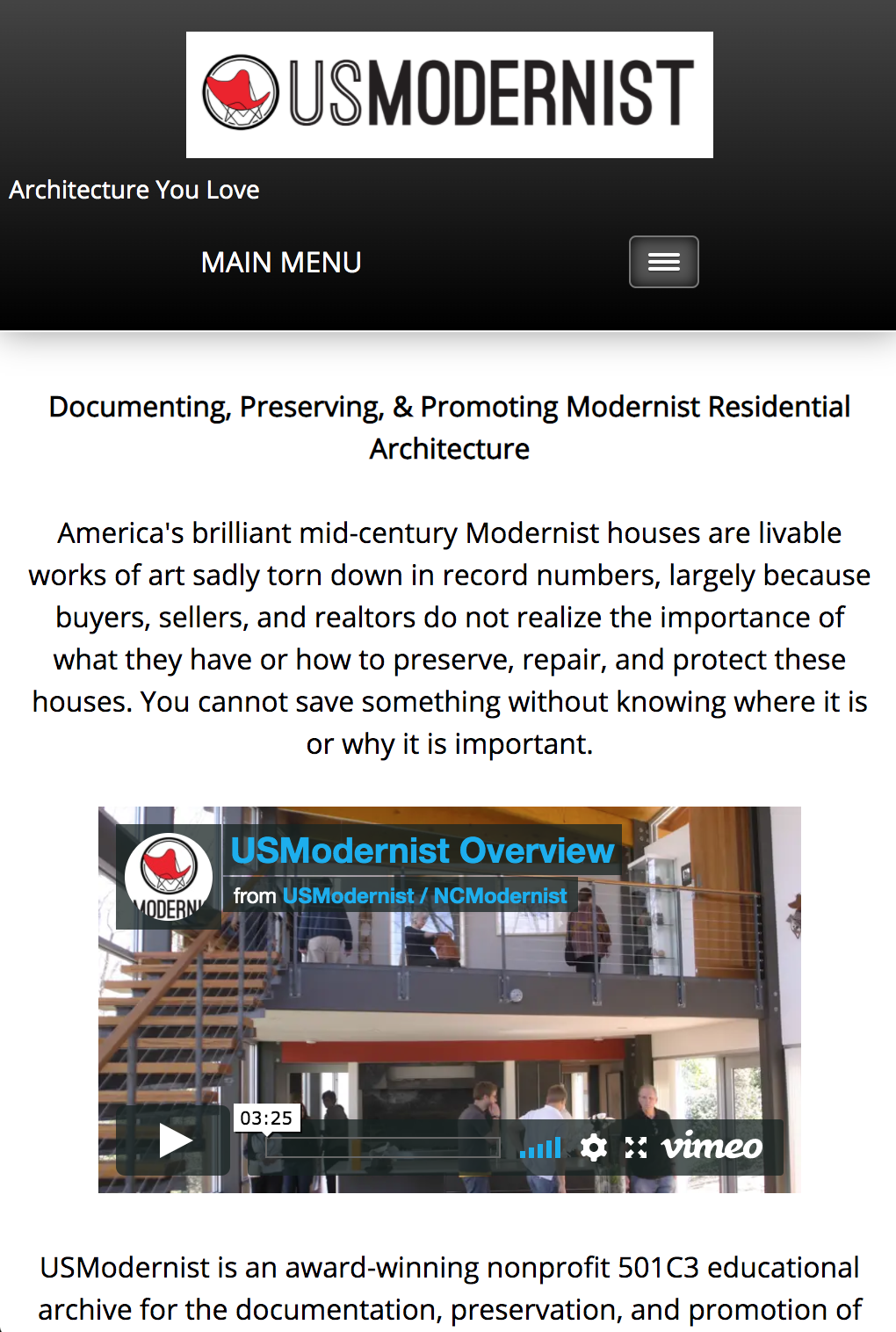 photo of old usmodernist mobile home page